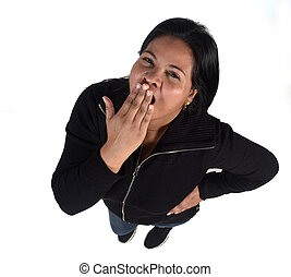 woman with cough on white background