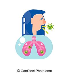 woman with covid 19 virus in lungs vector design