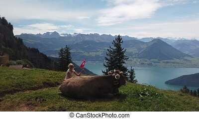 Happy girl with Swiss flag by a cow in alpine meadow along Rigi-Scheidegg railway with spectacular views of Swiss Alps, Schwyz basin, Lake Lucerne. Tourism in Canton of Lucerne, Central Switzerland.