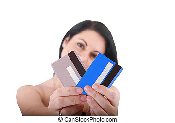 woman with credit cards, shallow