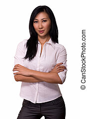 Woman with crossed arms - Attractive Asian woman wearing ...