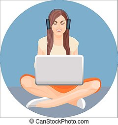 Woman with crossed legs in yoga position sitting behind computer