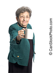 woman with cup - attractive senior woman with tea coffee cup...