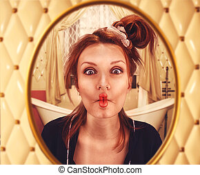 Woman with curled lips - Strange woman with curled lips...
