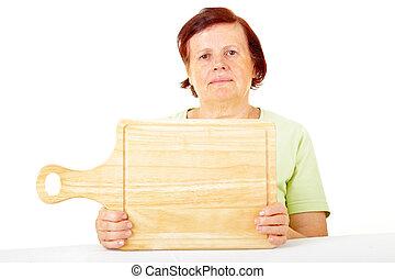 woman with cutting board