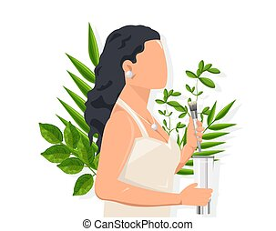 Woman with dark hair using cosmetic brush. Green leaves on background. Natural healthcare idea vector