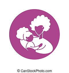 woman with daughter, silhouette style icon