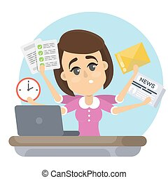 Woman with deadline.