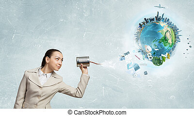 Woman with deaf phone - Young pretty businesswoman attaching...