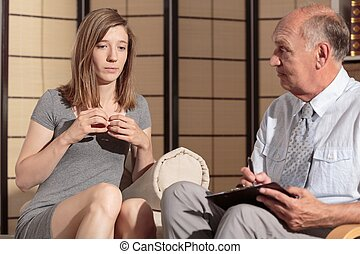 Woman with depression during therapy