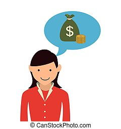 woman with dialog callout box with bag money vector...