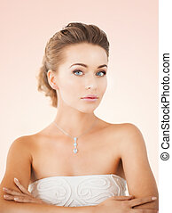 woman with diamond necklace - beautiful woman in white dress...