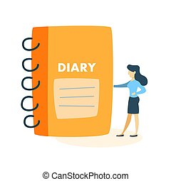 Woman with diary.