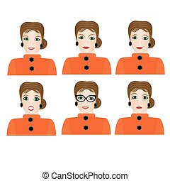 Woman with different facial expressions.