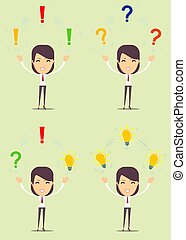 woman with different objects. Vector illustration flat...