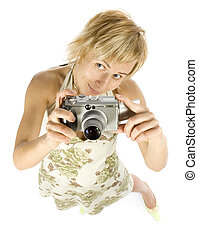 woman with digital camera - woman is takeing photo