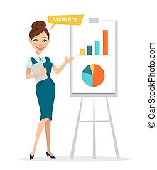 Woman with digital tablet standing near flipchart . Woman pointed to chart and diagram. Statistics. Business character.