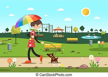 Woman with Dog in City Park - Vector Flat Design Illustration