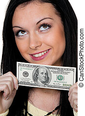 woman with dollar banknote