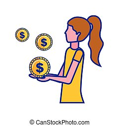 woman with dollar coins money