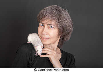woman with domestic rat
