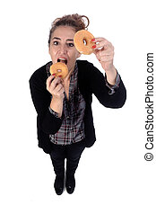 woman with donut on white background