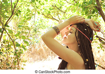 Woman with dreads hairstyle profile portrait