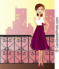 woman with dress - Is a editable eps file
