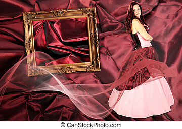 woman with Dress with a crinoline and picture frame on Fabric pleated collage