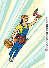 woman with drill, repair and construction. Superhero flying