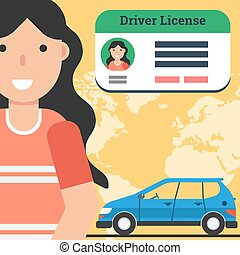 Woman with driver license and car