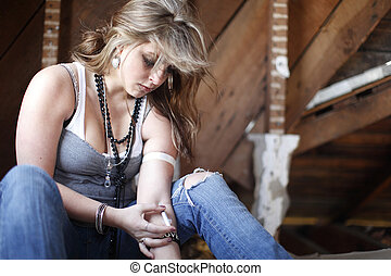 Young woman with drug addiction.