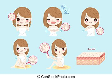 woman with dry skin concept