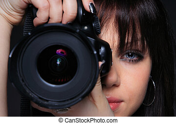 Woman with DSLR