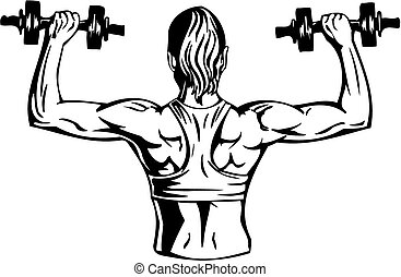 Woman with dumbbells - fitness. Vector illustration.