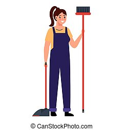 woman with dustpan and broom design, Cleaning service wash and home theme Vector illustration