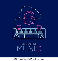Woman with earphone cloud connect smartphone, Electric keyboard shape made from cable, Streaming music concept design illustration isolated on dark blue background, with copy space