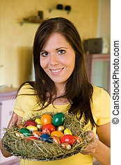 Woman with Easter basket - .