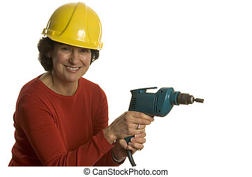 woman with electric drill