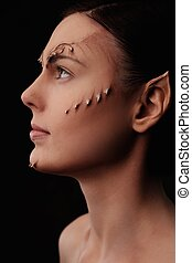 Woman with elf special fx make-up