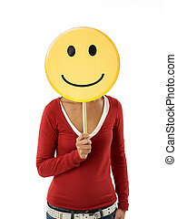 woman with emoticon