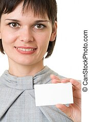 woman with empty business card.