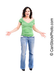 Woman with empty pockets in disbelieve