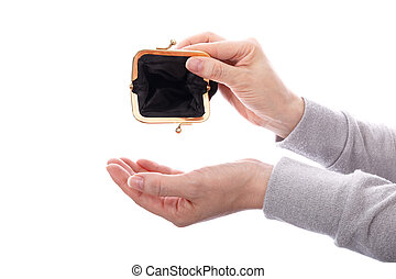 Woman with empty wallet
