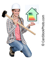 Woman with energy rating panel