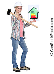 woman with energy rating sign