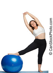woman with extra weight makes slopes blue ball fitness...