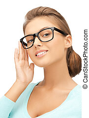 woman with eyeglasses - close up of beautiful young woman ...