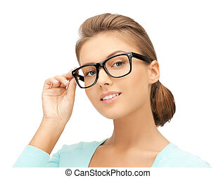 woman with eyeglasses - close up of beautiful young woman...