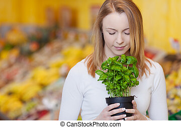 Woman With Eyes Closed Smelling Basil Plant - Young woman...